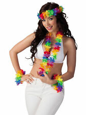 Hawaii Blütenkette Set Rainbow bunt Hawaiiparty Beachparty Karibische Nacht
