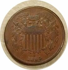 1864 TWO CENT PIECE 2c TRIPLE PUNCHED DATE ~ NICE BROWN EXTREMELY FINE COIN