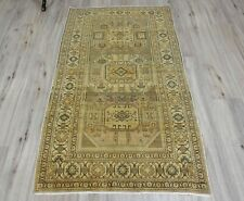Turkish runner rug,geometric desing rug, 3x5 ft,oushak old tribal nomadic rug