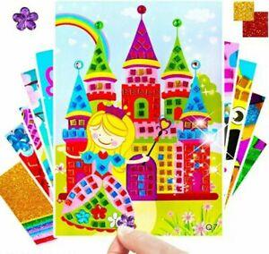 Kinder Bastelset Kreativ Glitzersteinen für Kinder 8 Stück Creativset Mosaik