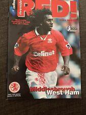 1996 Middlesbrough V West Ham  Football Programme