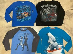 Lot Boys Long Sleeve Graphic T-Shirts size 8-10 & 10/12 Star Wars Spiderman Bear