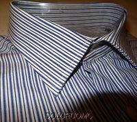 NEW $298 men VALENTINO ROMA DRESS SHIRT 16 41 EU 37 SL DkBLUE WHITE STRIPES