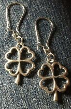 ANTIQUED SILVER TONE IRISH 4 LEAF CLOVER EARRINGS & Other Ear wire Size Options