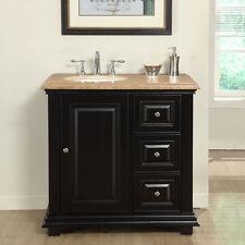 36-inch Bathroom Vanity Single Left Sink Travertine Stone Top Bath Cabinet 0281T