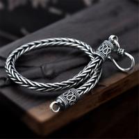 925 Sterling Silver Men Bracelets Snake Chain 4MM Handmade Thai Silver Jewelry