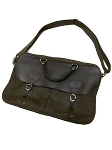 Barbour Wax Leather Briefcase Laptop Bag Olive/Brown