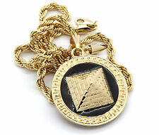 """Mens Round Pyramid Pattern Gold Plated Black 24"""" Rope Chain Pendant Necklace"""