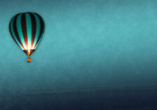 Affiche A4 – tir ballon à air chaud dans le ciel bleu (photo poster flying art)