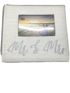 NEW Mr and Mrs Sparkly Burlap Wedding Photo Album Rustic Nicole Miller 200 4X6