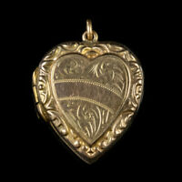 ANTIQUE VICTORIAN ENGRAVED HEART LOCKET 9CT GOLD CIRCA 1900