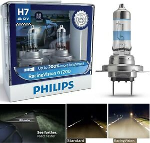 Philips Racing Vision 200% H7 55W Two Bulbs Head Light High Beam Upgrade Stock