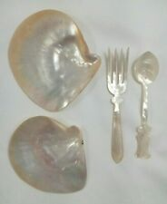 """Jolo P.I. Mother of Pearl serving set Fork Spoon hand carved 2 Shells 3.75"""" 4.5"""""""