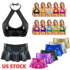 US Sexy Women Shiny Leather Micro Mini Skirt Bra Crop Top Party Clubwear Costume