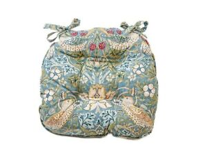 William Morris Piped Seat Pads Slate Strawberry Thief
