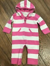 Baby Girl 12-18 Months Old Navy Pink White Striped Hooded Sweater Outfit