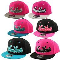 YOUTH KIDS 2 Tone Snapback Cap NY New York Script Flat Peak Hat Snap Back Pink