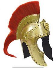 Medieval Viking Roman Armor Helmet Brass Plated 300 Spartan Helmet for Halloween