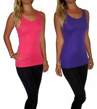 WOMENS LADIES VEST TOP STRETCH TUNIC GYM DANCE SHOW SIZE UK 8 10 12 14 16