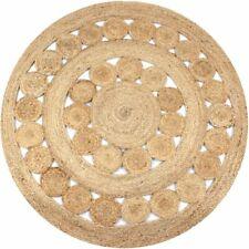vidaXL Area Rug Braided Design Jute 120cm Round Home Living Room Floor Carpet