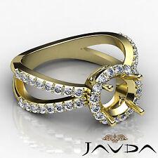 Diamond Engagement Split Shank Semi Mount Halo Pave Ring 0.75Ct 18k Yellow Gold