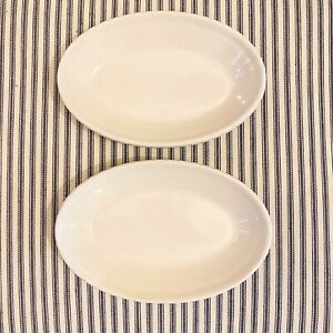 set of 2 white ironstone soap dishes pair Primitive Cottage Country Shabby Chic