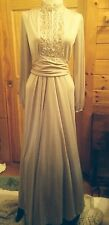 Vintage 70s Lilli Diamond California Evening Gown Long Beige Crystal Sequins Mob