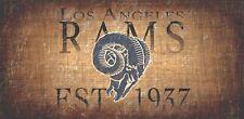 "Los Angeles Rams Retro Throwback Established 1937 Wood Sign - Wall NEW 12"" x 6"""