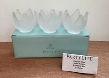 Party Lite Frosted Lotus Blossom Trio Of Tealight Holders