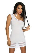 SEXY abito vestito BIANCO monospalla XS,S,M,L,XL 38,40,42,44,46 fashion GLAMOUR