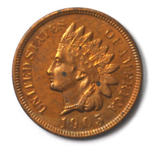 1905 1c Indian Head Penny One Cent Copper Philadelphia Rare AU