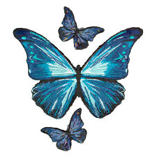 VEGASBEE® BUTTERFLY BLUE BUTTERFLIES EMBROIDERED IRON-ON APPLIQUÉ PATCHES SET