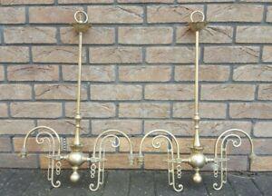 Pair of Art Nouveau style vintage solid brass 2 arm centre pendants