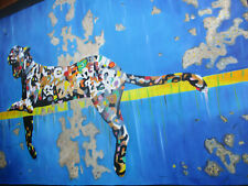 Art Painting street Leopard Cat style wall cats blue not a Banksy