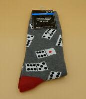 Mens Gray Novelty Socks size 6-12-Dice