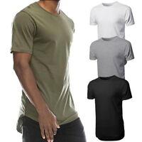 2018 Mens Plain T-Shirts Short Sleeve Casual Long T-Shirt Hip-Hop Basic Tees