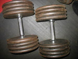 YORK BARBELL CO. NON-MARKED PANCAKE PLATES &IVANKO PRO-STYLE DB'S: (2) X APPROX.