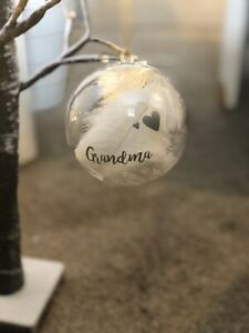 Memory Feather Filled Bauble Perfect For Christmas or any occasion any name