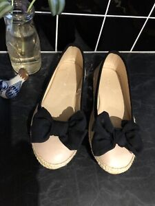 BNWOT - Ballet Flats Pink Nude With Black Bow. Never Worn. Sz 6. FREE POST.