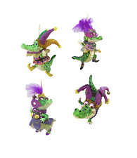Mardi Gras Alligator Ornaments Set of 4 with Masks Beads Hats Feathers cute