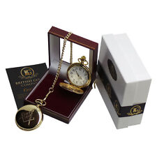 More details for freemason masonic luxury full hunter pocket watch gift box case any lodge