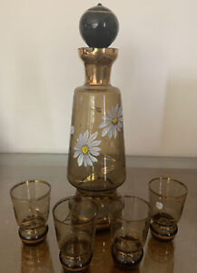 Vintage: Small Whisky/vodka Shot Set - Hand Painted + 4 Glasses