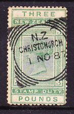 NEW ZEALAND 1882 3pound QV FISCAL POSTAL CANCEL