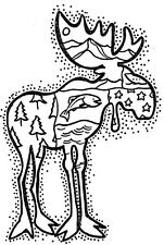 Unmounted Rubber Stamps, Wildlife, Hunting, Alaska, Sm Scenic Moose, Fish, Trees
