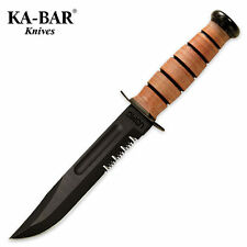 Ka-Bar - USMC Fixed Blade Knife Serrated Edge w/ Leather Sheath 1218 NEW