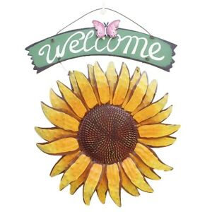 Sunflower Welcome Sign Decorative Vintage Metal Wall Hanging Home Garden Decor