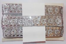silver jewel bead Sequin Indian wedding dance costume ribbon mesh rhinestone