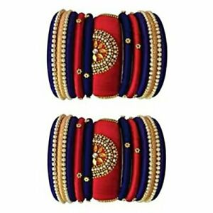 Blue And Red Color Silk Thread Bangles For Girls Handmade Low Price
