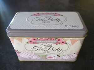 "SHABBY CHIC TIN TEA CADDY ""ENGLISH TEA PARTY"" CRAFTING, GIFTS"