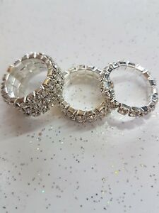 3 X Toe Rings Elasticated Rhinestone Bling Holiday Ring Jewellery Silver